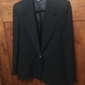 Austin Reed Black Wool Blazer With Gold Button
